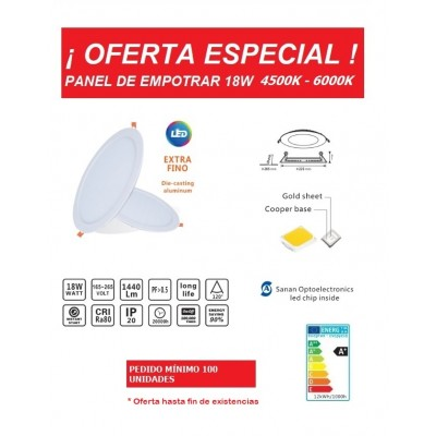 Downlight panel LED Redondo 225mm 18W serie ECO -OFERTA-