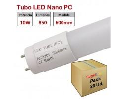 Tubo LED T8 600mm Nano PC Eco 10W, conexión 1 lado, Caja de 20 ud x 2,50€ ud.
