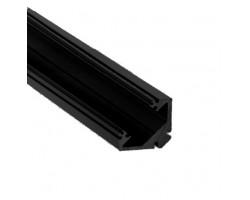 Perfil Angulo aluminio anodizado Negro 45º 22x22mm para tiras LED, barra 2 Metros