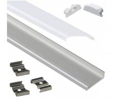 Perfil Aluminio Anodizado Superficie Flexible 18x6mm. para tiras LED, barra de 2 Metros -completo-