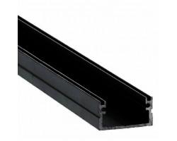 Perfil superficie aluminio anodizado Negro 20x11mm para tiras LED, barra 2 Metros