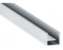 Perfil superficie aluminio anodizado 20,4x19,8mm para tiras LED, barra 2 Metros