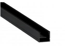 Perfil superficie aluminio anodizado Negro 20,4x19,8mm para tiras LED, barra 2 Metros