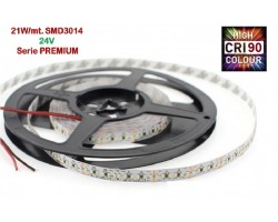 Tira LED 5 mts Flexible 24V 105W 1190 Led SMD 3014 IP20 Blanco Cálido, Serie PREMIUM IRC >90