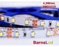 Tira LED 5 mts Flexible 24W 300 Led SMD 3528 IP20 Blanco Frío Alta Luminosidad