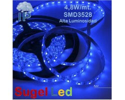 Tira LED 5 mts Flexible 24W 300 Led SMD 3528 IP54 Azul Alta Luminosidad