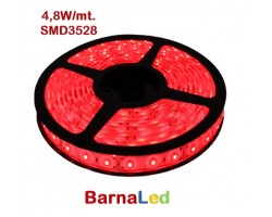 Tira LED 5 mts Flexible 24W 300 Led SMD 3528 IP20 Rojo