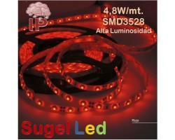 Tira LED 5 mts Flexible 24W 300 Led SMD 3528 IP54 Rojo Alta Luminosidad