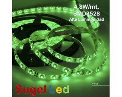 Tira LED 5 mts Flexible 24W 300 Led SMD 3528 IP20 Verde Alta Luminosidad
