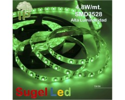 Tira LED 5 mts Flexible 24W 300 Led SMD 3528 IP54 Verde Alta Luminosidad