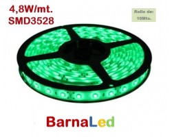 Tira LED 5 mts Flexible 24W 300 Led SMD 3528 IP20 Verde