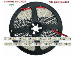 Tira LED 5 mts Flexible 24V 48W 600 Led SMD 3528 IP20 Blanco Frío Alta Luminosidad