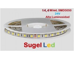 Tira LED 5 mts Flexible 24V 72W 300 Led SMD 5050 IP20 Blanco Neutro Alta Luminosidad