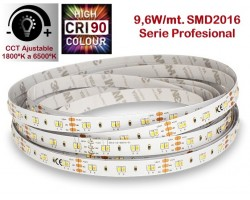 Tira LED 5 mts Flexible 48W 600 Led SMD 2016 IP20 color temperatura ajustable 1800ºK a 6500ºK, serie profesional