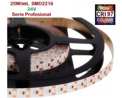 Tira LED 5 mts Flexible 24V 125W 1500 Led SMD 2216 IP20 Blanco Cálido, Serie Profesional IRC >97