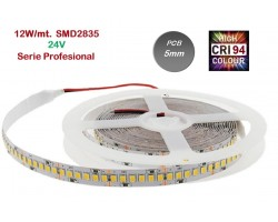 Tira LED 5 mts Flexible 24V 60W 600 Led SMD 2835 IP20 Blanco Frío, Serie Profesional IRC >94