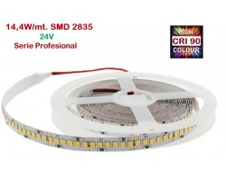 Tira LED Flexible 24V 14,4W/mt 120 Led/mt SMD 2835 IP20 2700K, Serie Profesional IRC >90, venta por metros