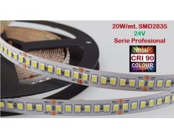 Tira LED Flexible 24V 20W/mt 120 Led/mt SMD 2835 IP20 2400K, Serie Profesional IRC >90, venta por metros