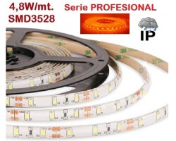 Tira LED 5 mts Flexible 24W 300 Led SMD 3528 IP65 Ambar, serie Profesional