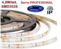 Tira LED 5 mts Flexible 24W 300 Led SMD 3528 IP65 Azul, serie Profesional