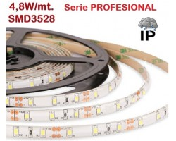 Tira LED 5 mts Flexible 24W 300 Led SMD 3528 IP65 Blanco Frío, serie Profesional