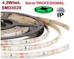 Tira LED 5 mts Flexible 24W 300 Led SMD 3528 IP65 Verde, serie Profesional
