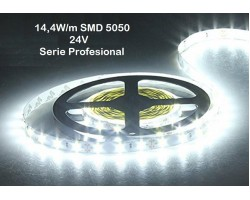Tira LED Flexible 24V 14,4W/mt 60 Led/mt SMD 5050 IP20 8000K, Serie Profesional, venta por metros