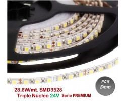 Tira LED 5 mts Flexible 24V 144W 600 Led SMD 3528 IP20 Blanco Natural Triple Núcleo, 5mm ancho, Serie PREMIUM