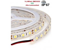 Tira LED 5 mts Flexible 24V 72W 300 Led SMD 5050 IP67 Blanco Cálido Alta Luminosidad