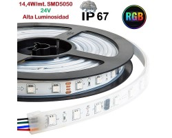 Tira LED 5 mts Flexible 24V 72W 300 Led SMD 5050 IP67 RGB Alta Luminosidad