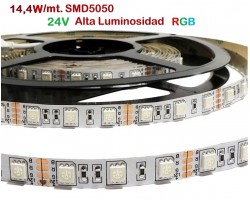 Tira LED 5 mts Flexible 24V 72W 300 Led SMD 5050 IP20 RGB Alta Luminosidad