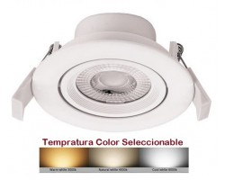 Foco Downlight LED Orientable Redondo Blanco Ø85mm 7w CCT Selecionable
