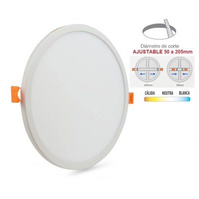 Downlight panel LED Redondo 145mm Blanco 12W, Corte ajustable 60 a 130mm