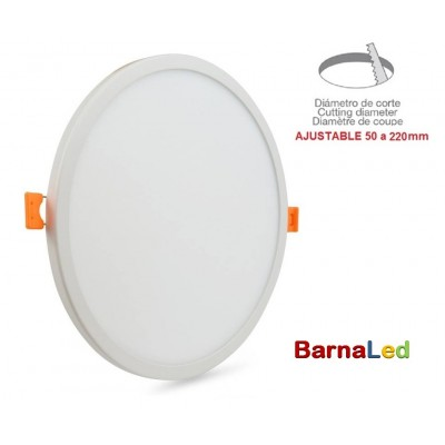 Downlight panel LED Redondo 225mm Blanco 24W, Corte ajustable 50 a 205mm
