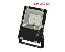 Foco LED exterior PRO 12V-24V DC 30W IP65 Negro