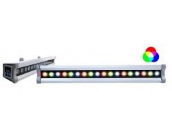 Foco LED exterior bañador pared lineal 36W 1000mm RGB, controlador DMX incluido