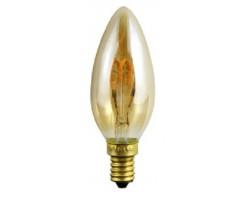 Lámpara LED Vela Gold E14 4W Filamento Rizado 2200ºK CRI90