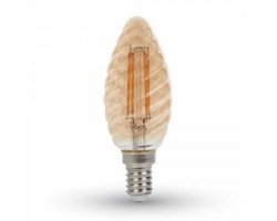 Lámpara LED Vela Rizada Glod E14 4W Filamento 1800ºK