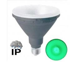 Lámpara LED PAR38 E27 15W 230V Verde IP65