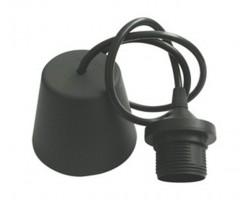 Portalámparas Negro E-27 con 1 metro cable y florón