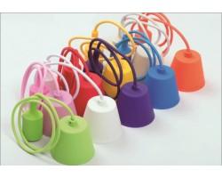 Portalámparas Silicona E-27 con 1 metro cable textil y florón (colores)