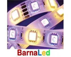 Tira LED 5 mts Flexible 72W 300 Led SMD 5050 IP20 RGB+WW Blanco Cálido Alta Luminosidad