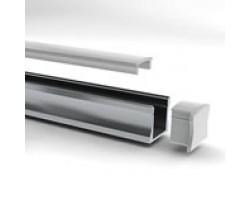 Perfil Aluminio Superficie 17x15mm. para tiras LED, barra de 2 Metros - completo- (a 8,75€/mt)