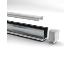 Perfil Aluminio Superficie 17x15mm. para tiras LED, barra de 3 Metros - completo-