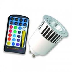 Lámpara LED GU10 5W RGB, con mando IR