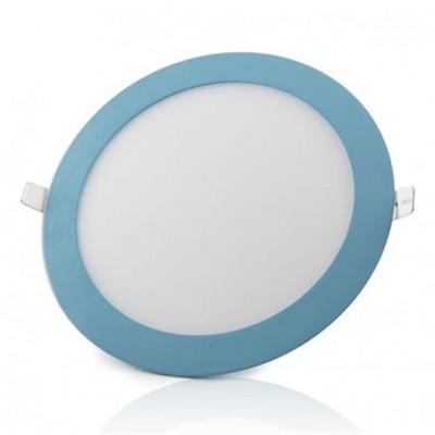 Downlight panel LED Redondo 225mm Azul 18W Blanco Frío
