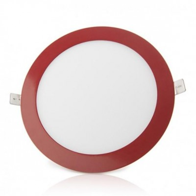 Downlight panel LED Redondo 225mm Rojo 18W Blanco Frío