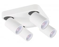Foco superficie base cuadrada basculante y orientable Blanco para 4 Lámparas GU10