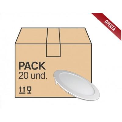 Downlight panel LED Redondo 225mm 18W serie ECO, caja 20 ud. x 3,90€/ud.