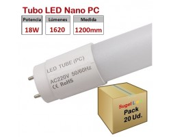 Tubo LED T8 1200mm Nano PC Eco 18W, conexión 1 lado, Caja de 20 ud x 2,90€/ud.